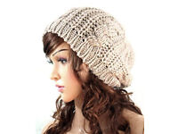 Ladies Dark Cream Taupe Cable Knit Chunky Warm Soft Beanie Hat.