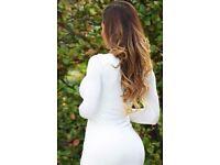 New Ladies White Stretch T-Shirt Body Con Dress.Size 20/22.