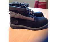 Black/grey timberland boots, size 6