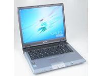 "SONY GRT995 LAPTOP, 15"" LCD, 2.80GHz, 1.5GB, 80GB, WIFI, DVDRW, OFFICE, ANTI-VIRUS, WINDOWS XP SP3"