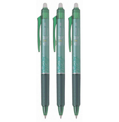 Pilot Frixion Clicker Rt Gel Pen Extra Fine Point 0.5mm Green Ink 3 Count