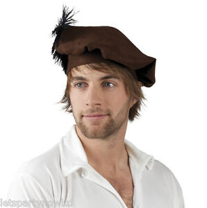 MENS BROWN FELT TUDOR STYLE HAT WITH FEATHER / MEDIEVAL FANCY DRESS ACCESSORY