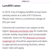 Junk removal. All Calgary landfill sites minimum  fee is $25
