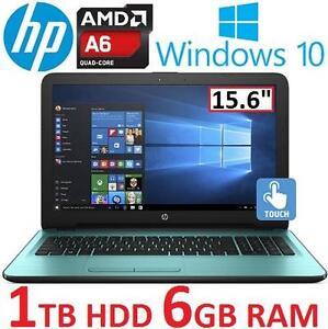 "NEW OB HP TOUCHSCREEN NOTEBOOK PC - 124536707 - 15.6"" AMD A6-7310 6GB RAM 1TB HDD WINDOWS 10 LAPTOP COMPUTER NEW OPEN..."