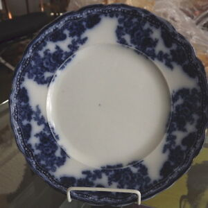 Antique Flow Blue Plate -  Made in England , New Wharf Pottery