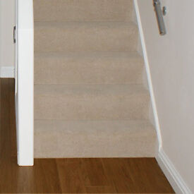 Dark Oak Laminate Flooring / Biscuit Carpet