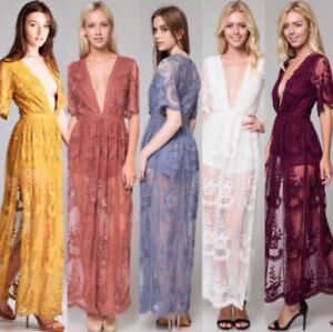 0502f56b45b4 Honey Punch lace maxi romper