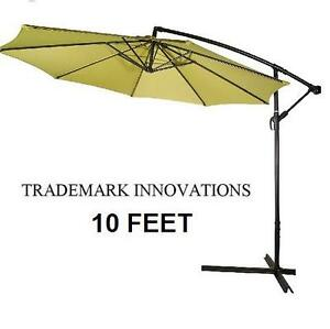 NEW* TI 10 FEET PATIO UMBRELLA 10 FEET DELUXE POLYESTER OFFSET PATIO UMBRELLA - LIGHT GREEN 106363112