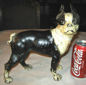 Antique boston terrier home garden art statue cast iron dog doorstop door stop - Cast iron dog doorstop ...