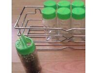 8 New Green Lids Sprinkler Top Clear Glass EMPTY Refillable Replacement Spice Jars.