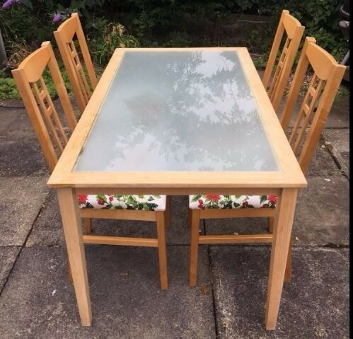 Frosted Glass & Solid Wood Dining Table 140cm & 4 Chairs FREE DELIVERY 545