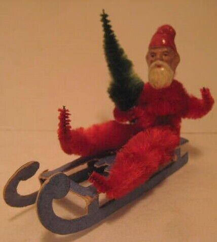 Unusual Old Chenille Christmas Santa on Cdbd Sled w/ Rare Composition Head