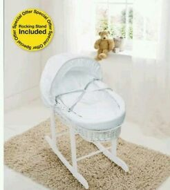 Kinder valley white Waffle with white Wicker moses basket. Free Rocking stand. Brand new.