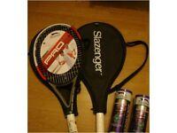 2 Slazenger Pro Tennis Rackets w/ 2 Tubes of Balls