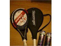 2 Slazenger Pro Tennis Racquets w/ 2 Tubes of Balls