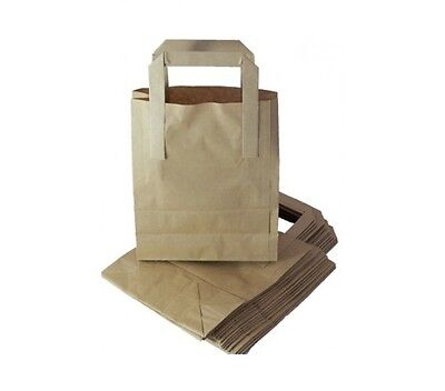 50 x HIGH QUALITY SMALL BROWN KRAFT PAPER SOS BLOCK BOTTOM CARRIER BAGS