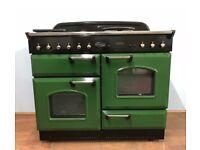 RANGEMASTER 110CM RANGE COOKER IN GREEN AND CHROME