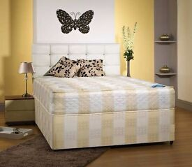 "**FREE LONDON DELIVERY** Double Divan Bed w/ 9"" Deep Quilt Mattress **Headboard, Drawers Optional**"