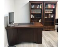 Matching wooden desk & shelves; in good condition