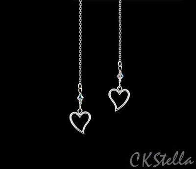 *CKstella*  Heart Threader Dangle Sterling Silver Ear Thread w Swarovski Crystal