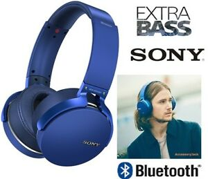 NEW SONY EXTRA BASS WIRELESS BLUETOOTH HEADPHONES WITH MIC - BLU