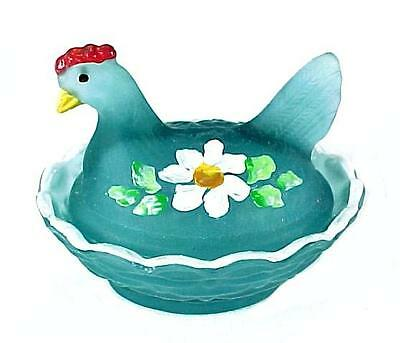 Chick Salt Dip Cellar Hen on Nest Blue Satin Cobaline Glass Hand Painted Floral