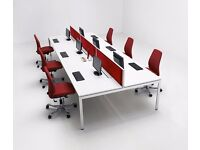 64 - CALL CENTRE BENCH DESKS IN WHITE - 10 YEAR GUARANTEE - 1200MM X 700MM