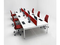 NEW BENCH DESK WHITE WITH WHITE FRAMES- 1200MM X 800MM PER PERSON