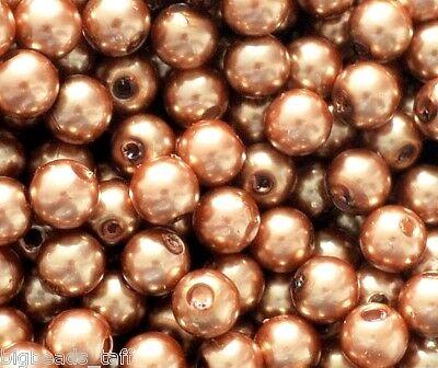 (100 pcs acrylic beads, pearl imitation, round, brown, 8 mm)