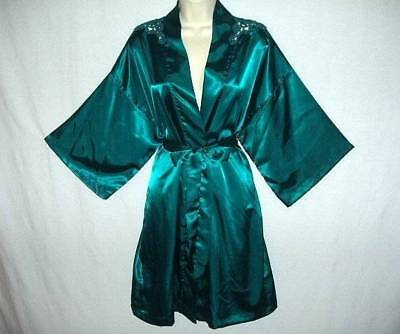 GLOSSY DEEP TURQUOISE SILKY SMOOTH SATIN & SHEER LACE FEM QUALITY TRENDY ROBE M