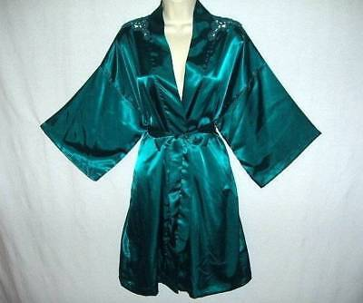 GLOSSY DEEP TURQUOISE SILKY SMOOTH SATIN & SHEER LACE FEM QUALITY TRENDY ROBE - Trendy Robes
