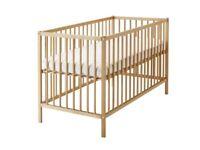 IKEA SNIGLAR Cot (Beech) and mattress - perfect condition
