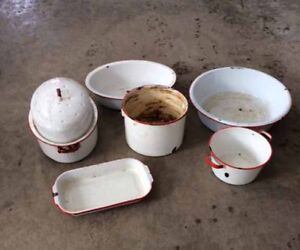Selection of vintage white and red pots
