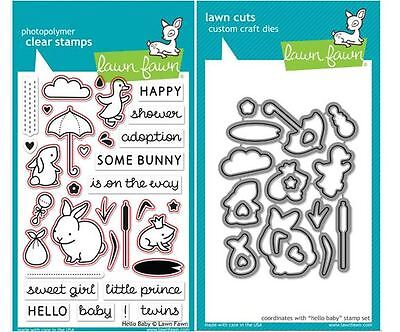 Lawn Fawn Photopolymer Clear Stamp & Die Combo Set - HELLO BABY ~ LF673, LF674 ()