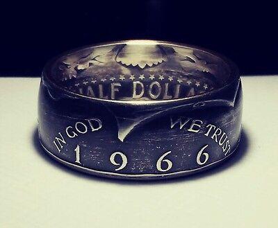 1966 Sizes 8 Thru 15 Option Silver Jfk Half Dollar Coin Ring In God We Trust Usa
