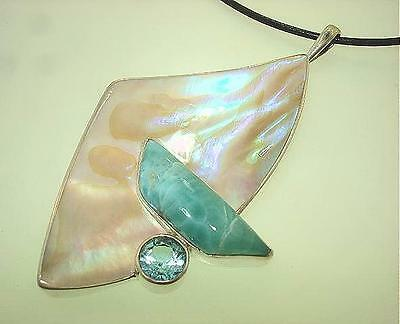 Marta Howell Sterling Silver Gold Lip Mother of Pearl Larimar Topaz Pendant #2
