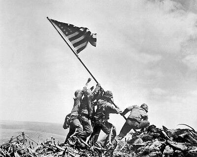 11x14 World War Ii Photo: Marines Raise Us Flag On Mount Suribachi, Iwo Jima