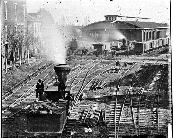 New 8x10 Civil War Photo: Trains at Railroad Yard in Atlanta, Georgia