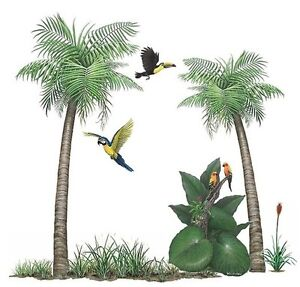 jungle parrots palm tree wall sticker decals mural. Black Bedroom Furniture Sets. Home Design Ideas