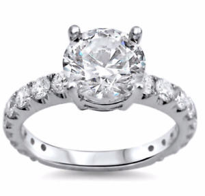 Certified 4.03Ct REAL Enhanced Diamond Engagement Ring