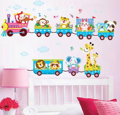 Animal Train Wall Decal Stickers Vinyl Art Kids Baby Nursery Room Cartoon Decor (Train Stickers)
