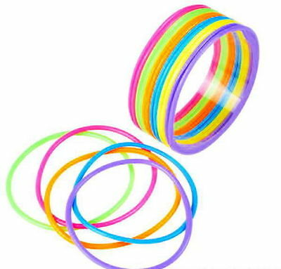Party Crafts (144 Assorted Rainbow Neon Jelly Bracelets Party Favor Gummy Bangles Arts)