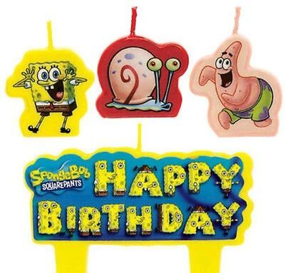 Sponge Bob Birthday Party (New Sponge-Bob (4pc) Birthday Candle Set Kids Birthday Party)