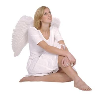 ENGELSFLÜGEL Erwachsene weiß 65 cm Große Flügel mit Federn Engel Vampir (Engelsflügel Mit Federn)