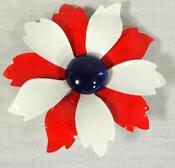 Vintage Enamel Flower Brooch White