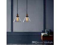 Brand new Pendant light - conical transparent glass and bronze