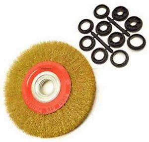 6 INCH 150MM FINE WIRE BRUSH WHEEL FOR BENCH GRINDER WITH ADAPTOR RINGS NEW