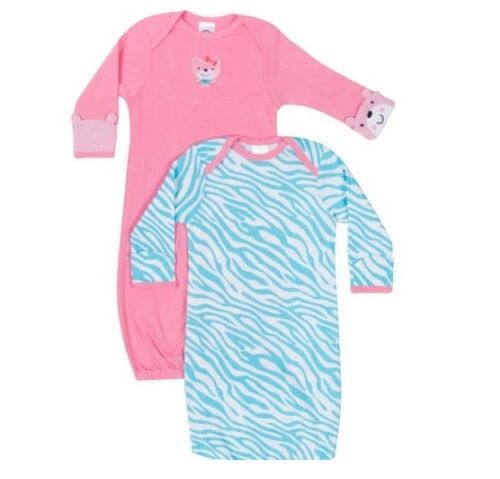 Gerber Girls 2-Pk Pink/Blue Lap Shoulder Gowns Size 0-6M BABY CLOTHES GIFT