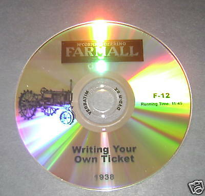 1938 Farm Tractor Dvd-writing Your Own Ticket Fr Farmall International Harvester