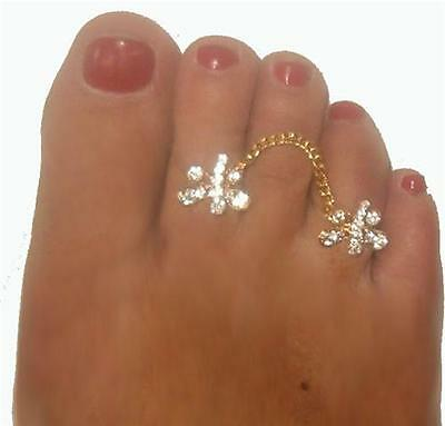 Butterfly duo gorgeous  crystal attched double toe ring  gems in Clear Gold gep (Crystal Butterfly Toe Ring)